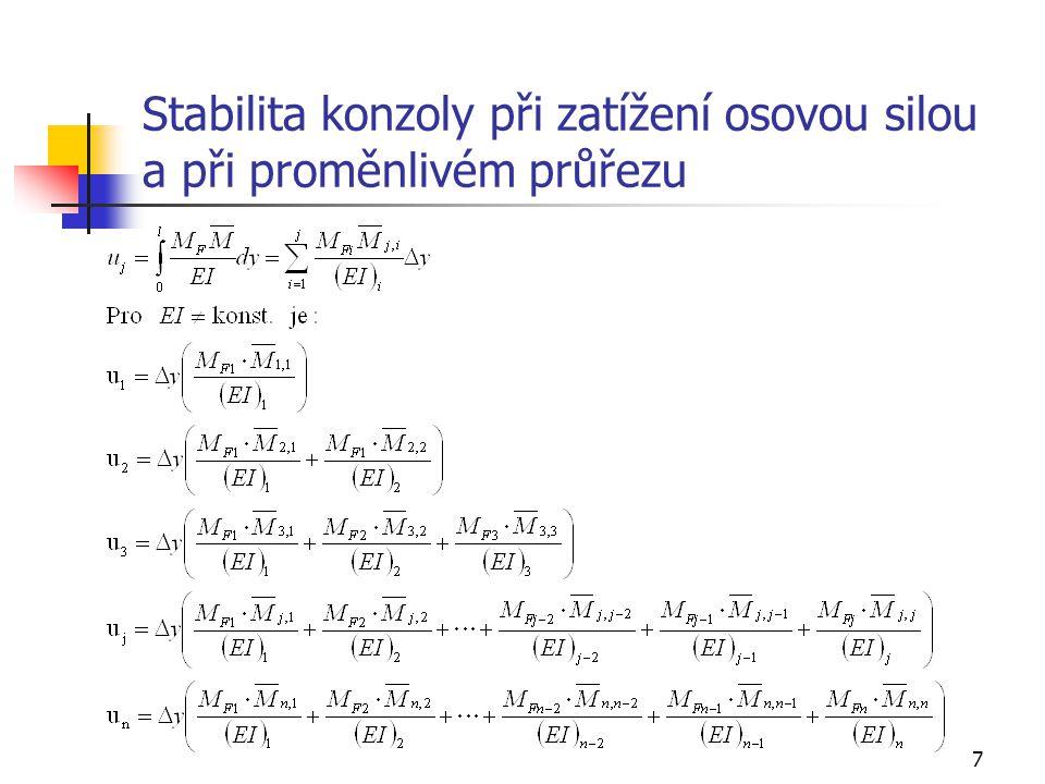 Stabilita konzoly při zatížení osovou silou a při proměnlivém průřezu