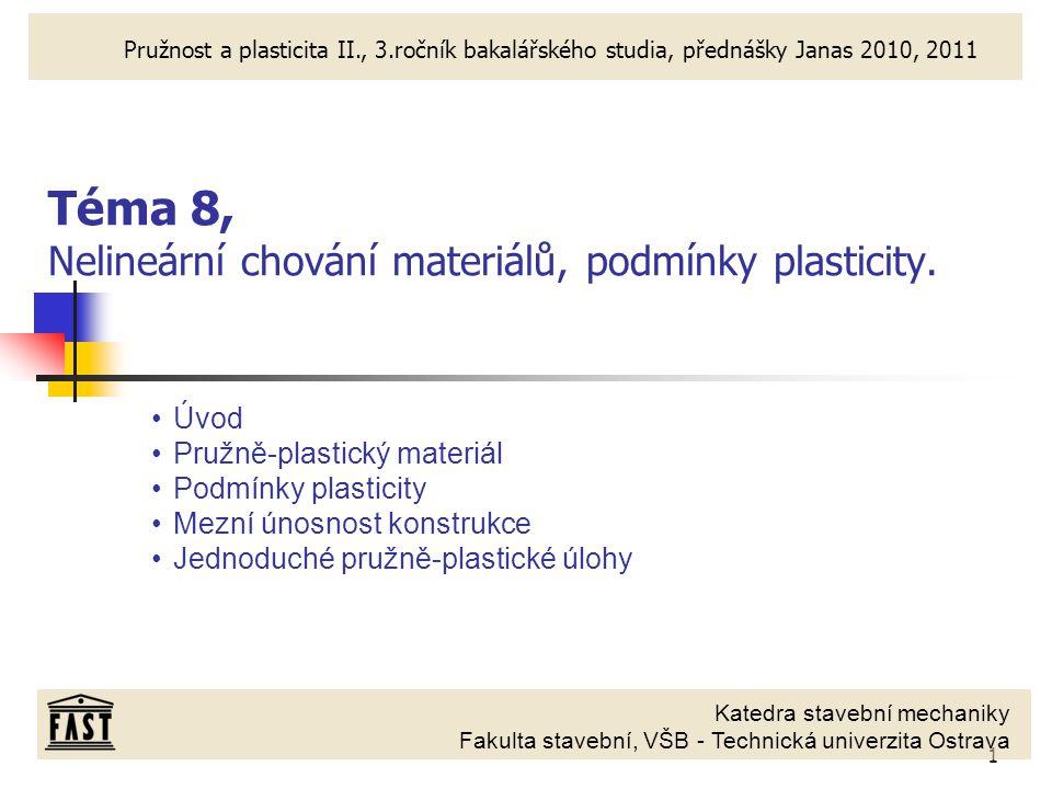 Téma 8, Nelineární chování materiálů, podmínky plasticity.