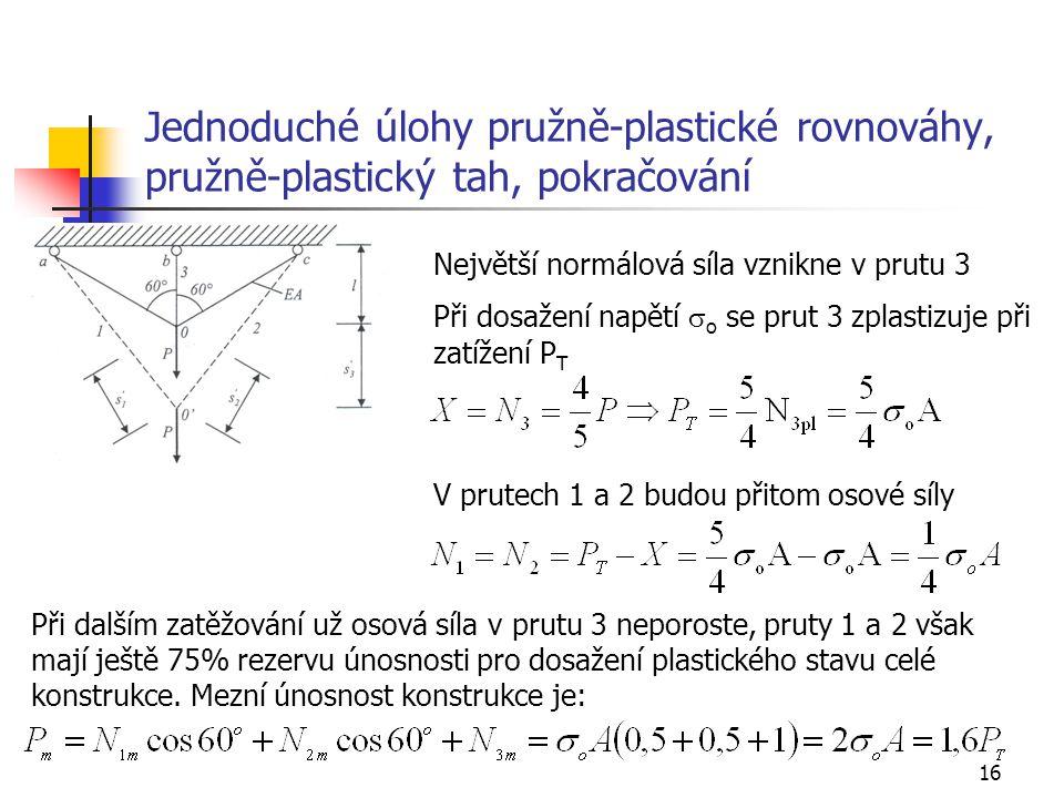 Jednoduché úlohy pružně-plastické rovnováhy, pružně-plastický tah, pokračování
