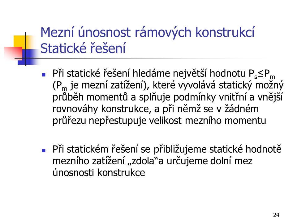 Mezní únosnost rámových konstrukcí Statické řešení