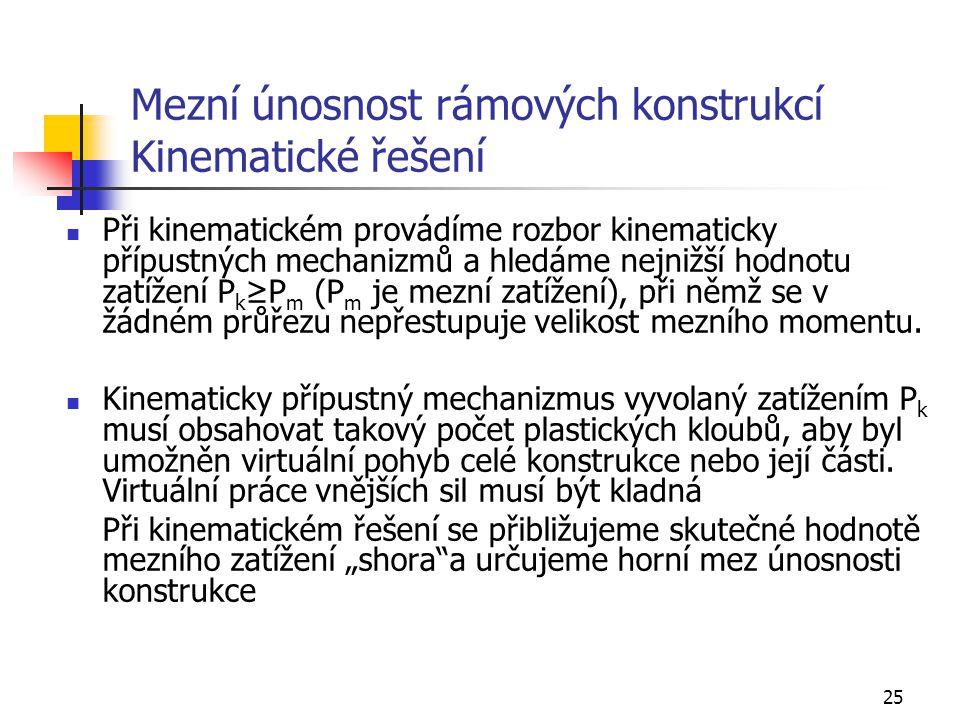 Mezní únosnost rámových konstrukcí Kinematické řešení
