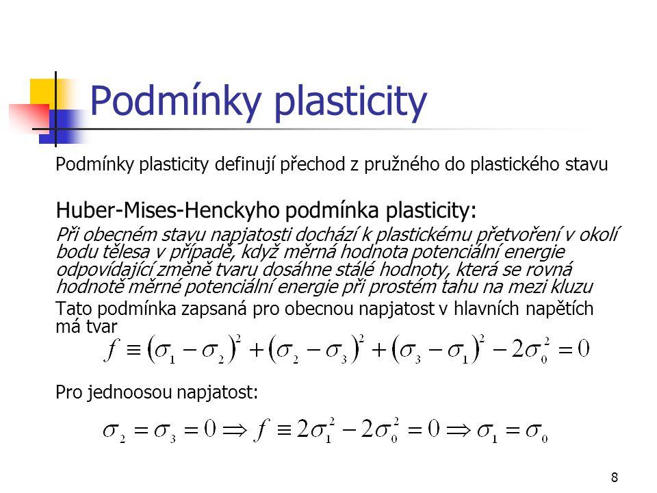 Podmínky plasticity Huber-Mises-Henckyho podmínka plasticity: