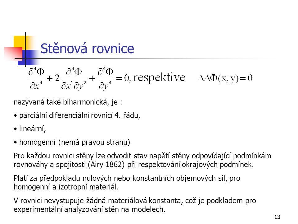 Stěnová rovnice nazývaná také biharmonická, je :