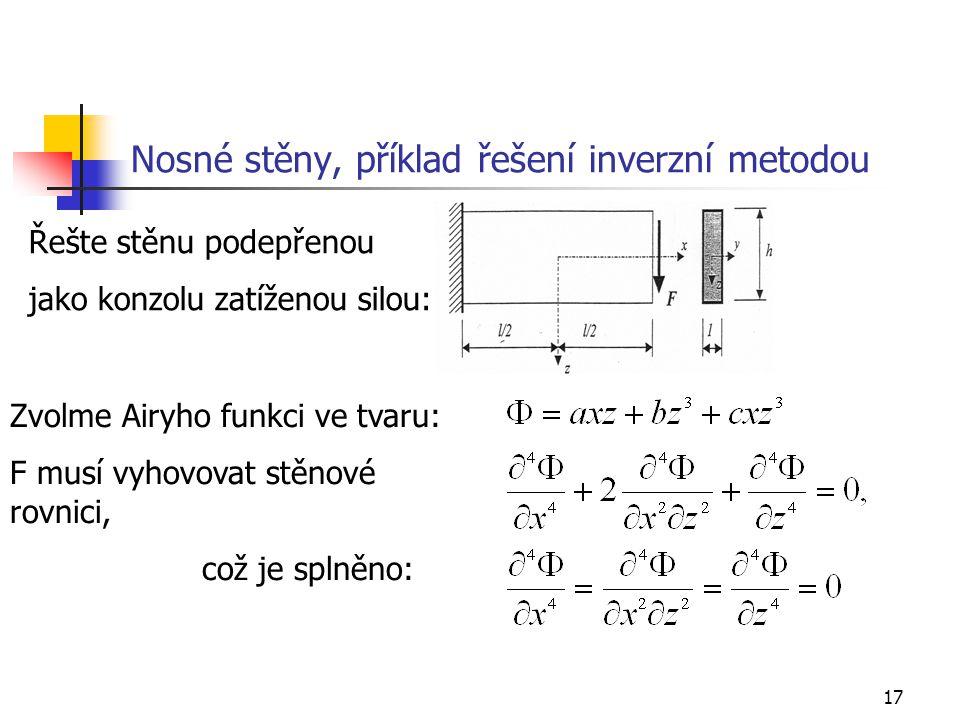 Nosné stěny, příklad řešení inverzní metodou