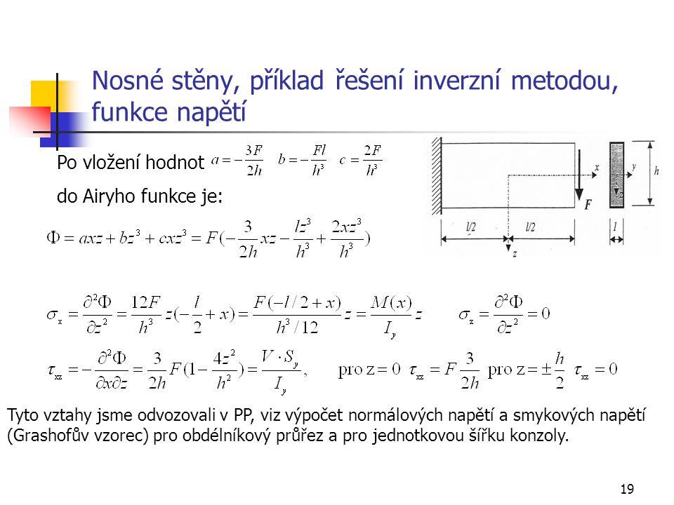 Nosné stěny, příklad řešení inverzní metodou, funkce napětí