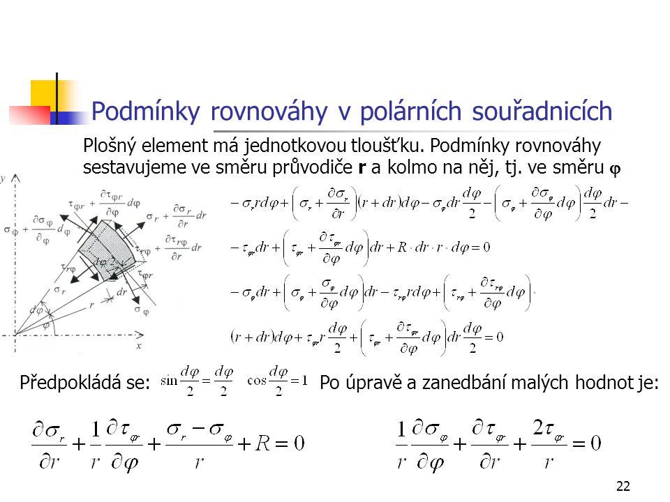 Podmínky rovnováhy v polárních souřadnicích