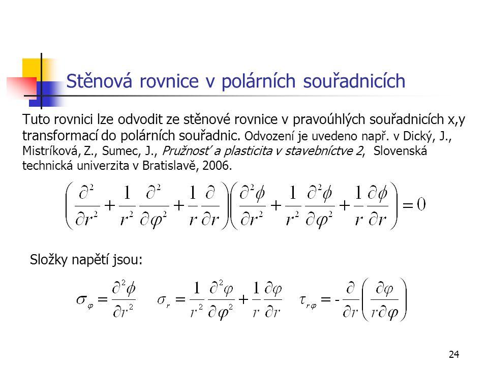 Stěnová rovnice v polárních souřadnicích