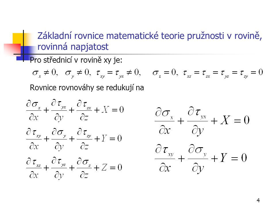 Základní rovnice matematické teorie pružnosti v rovině, rovinná napjatost