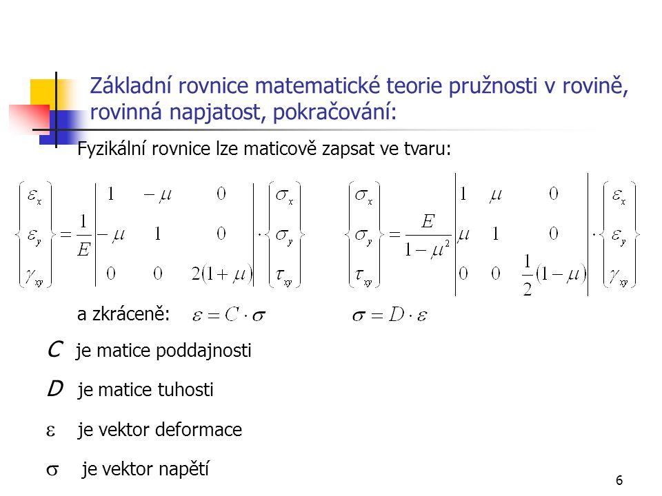 C je matice poddajnosti D je matice tuhosti e je vektor deformace