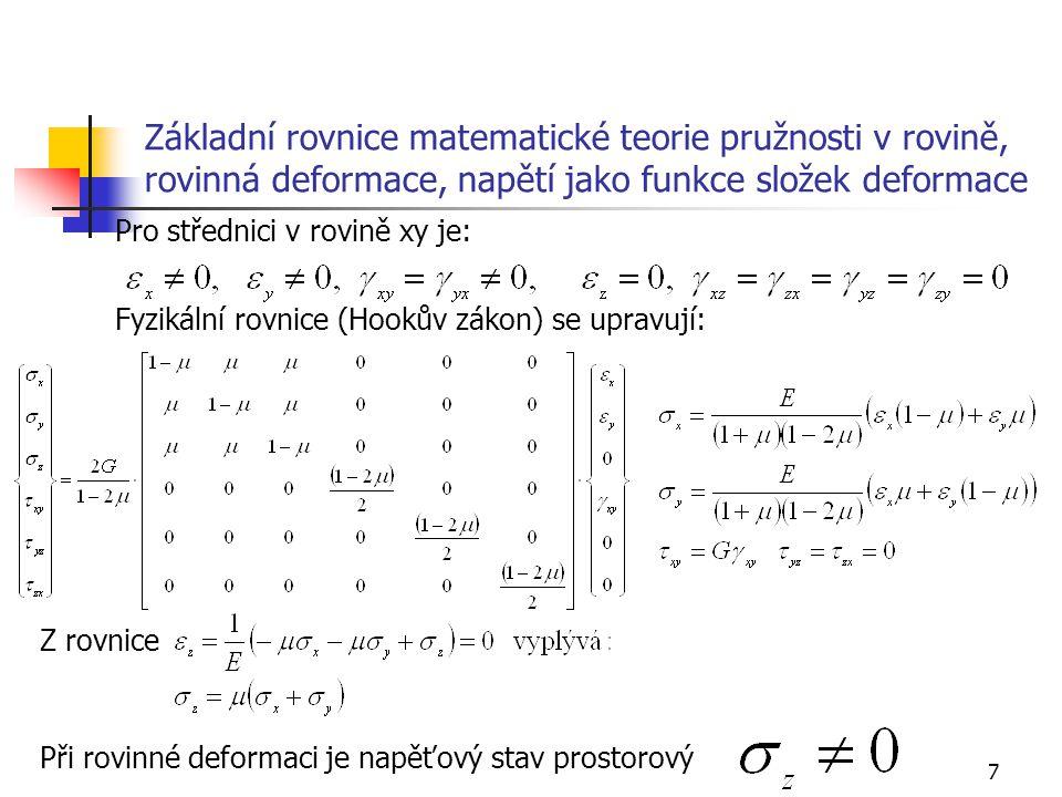 Základní rovnice matematické teorie pružnosti v rovině, rovinná deformace, napětí jako funkce složek deformace
