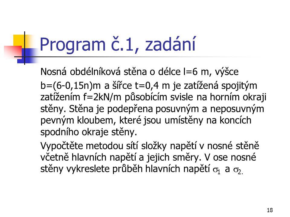 Program č.1, zadání Nosná obdélníková stěna o délce l=6 m, výšce