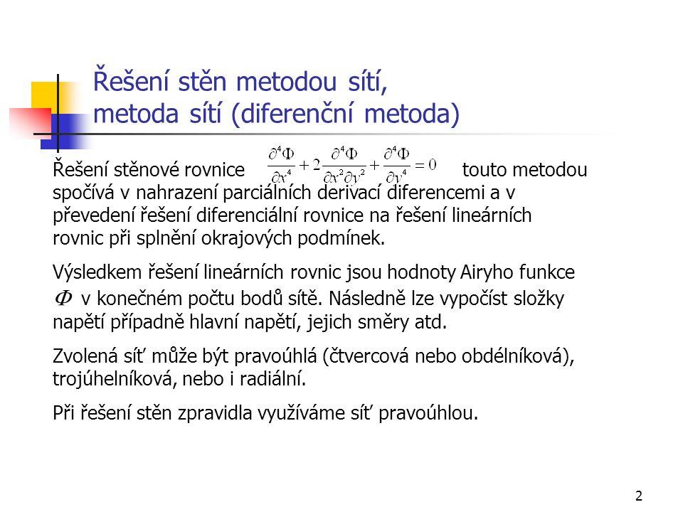 Řešení stěn metodou sítí, metoda sítí (diferenční metoda)