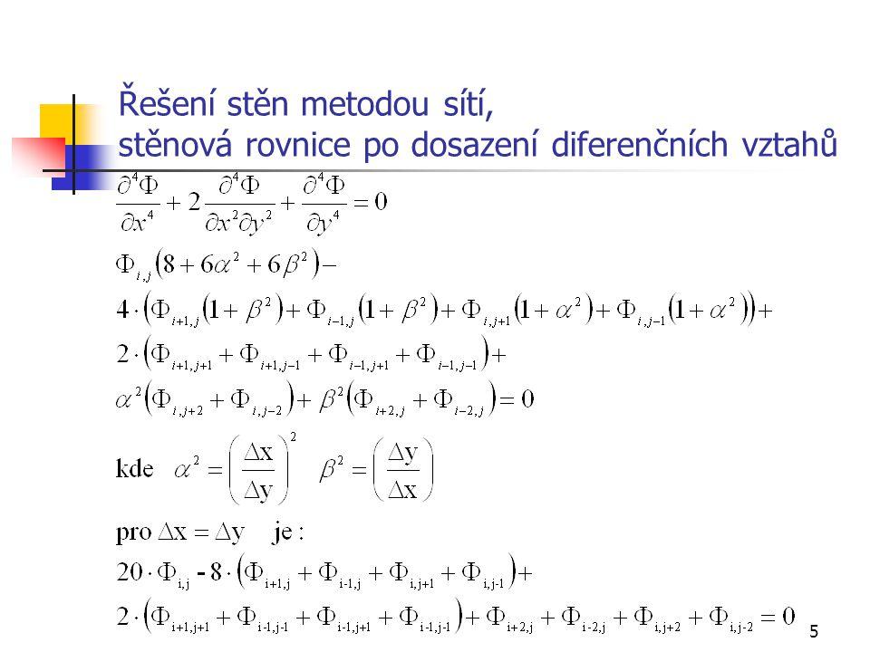 Řešení stěn metodou sítí, stěnová rovnice po dosazení diferenčních vztahů