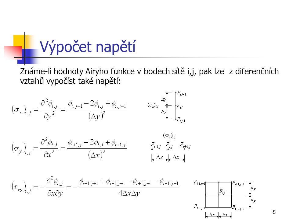 Výpočet napětí Známe-li hodnoty Airyho funkce v bodech sítě i,j, pak lze z diferenčních vztahů vypočíst také napětí: