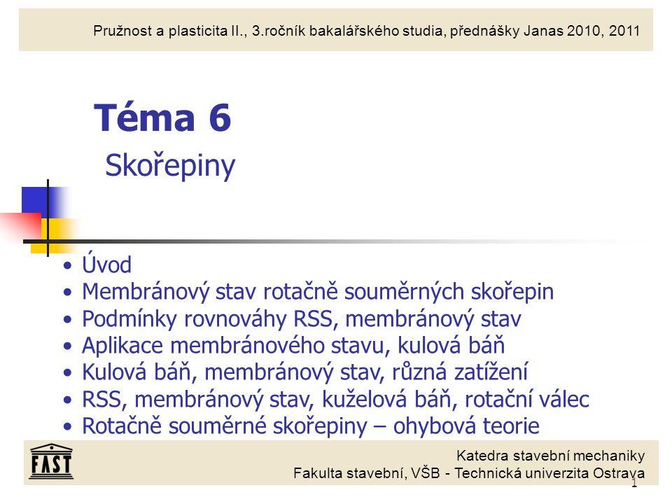 Téma 6 Skořepiny Úvod Membránový stav rotačně souměrných skořepin
