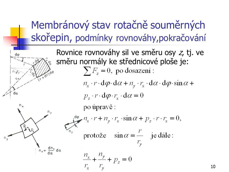 Membránový stav rotačně souměrných skořepin, podmínky rovnováhy,pokračování