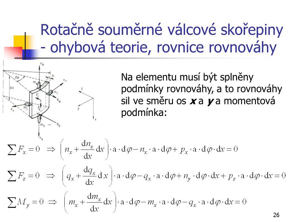 Rotačně souměrné válcové skořepiny - ohybová teorie, rovnice rovnováhy