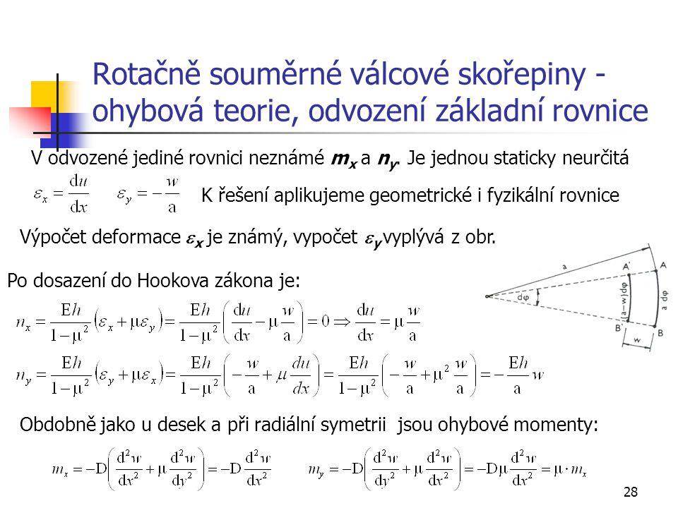Rotačně souměrné válcové skořepiny - ohybová teorie, odvození základní rovnice