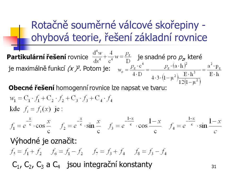 Rotačně souměrné válcové skořepiny - ohybová teorie, řešení základní rovnice