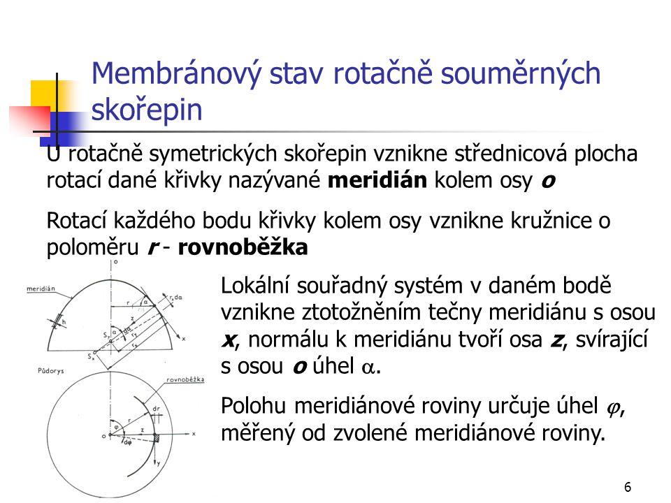 Membránový stav rotačně souměrných skořepin
