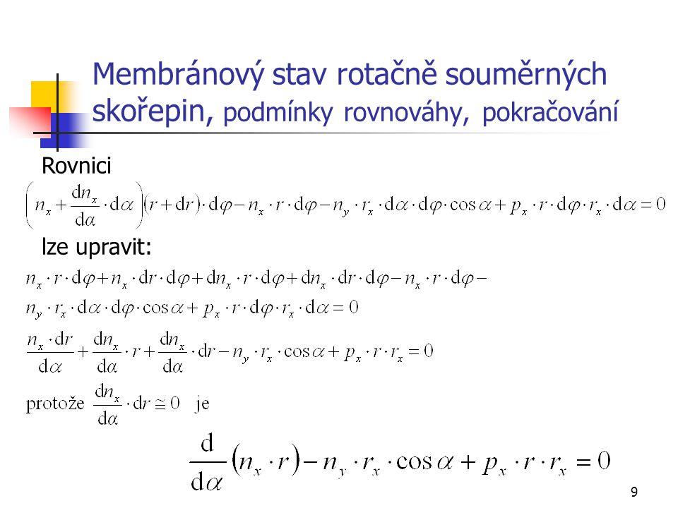 Membránový stav rotačně souměrných skořepin, podmínky rovnováhy, pokračování