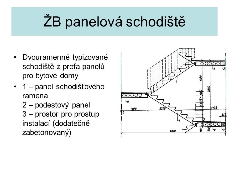 ŽB panelová schodiště Dvouramenné typizované schodiště z prefa panelů pro bytové domy.