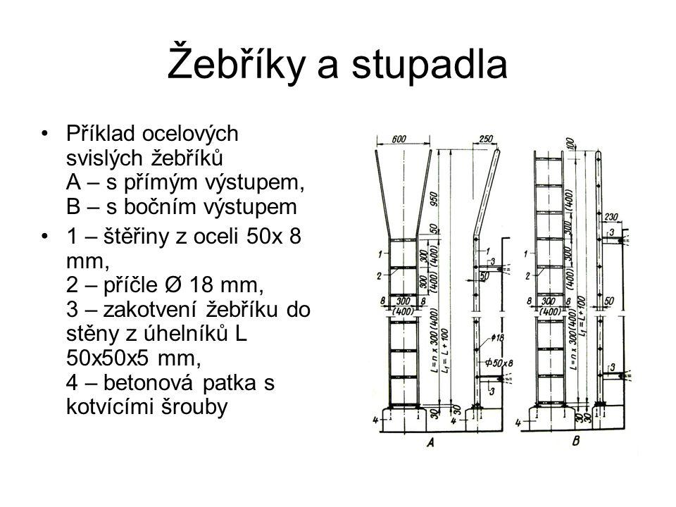 Žebříky a stupadla Příklad ocelových svislých žebříků A – s přímým výstupem, B – s bočním výstupem.