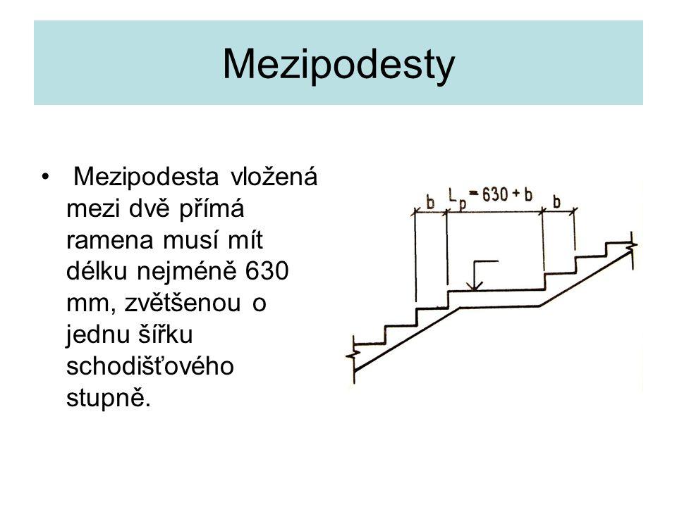 Mezipodesty Mezipodesta vložená mezi dvě přímá ramena musí mít délku nejméně 630 mm, zvětšenou o jednu šířku schodišťového stupně.