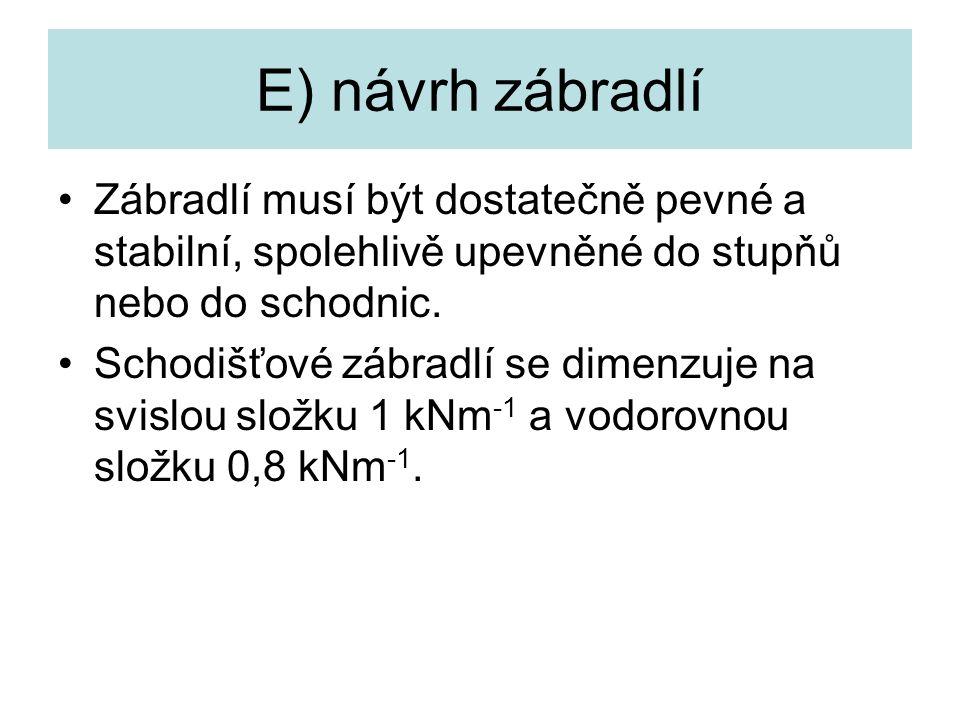 E) návrh zábradlí Zábradlí musí být dostatečně pevné a stabilní, spolehlivě upevněné do stupňů nebo do schodnic.