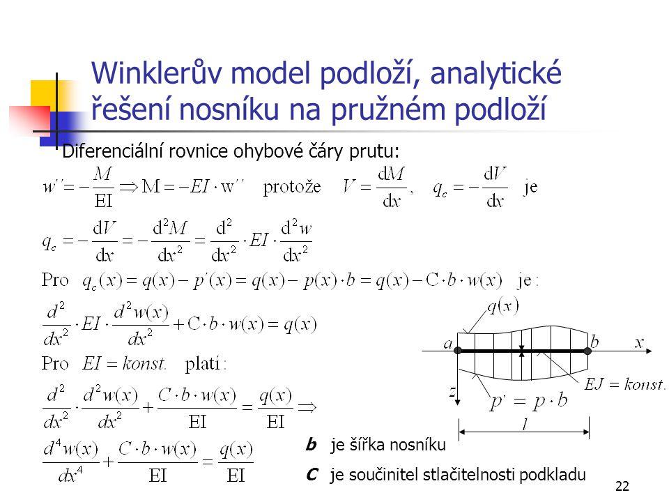 Winklerův model podloží, analytické řešení nosníku na pružném podloží