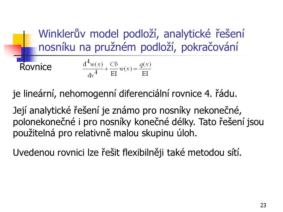 Winklerův model podloží, analytické řešení nosníku na pružném podloží, pokračování