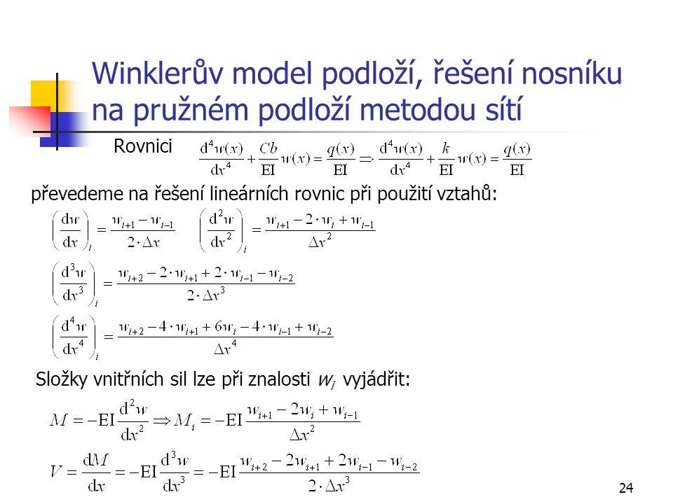 Winklerův model podloží, řešení nosníku na pružném podloží metodou sítí