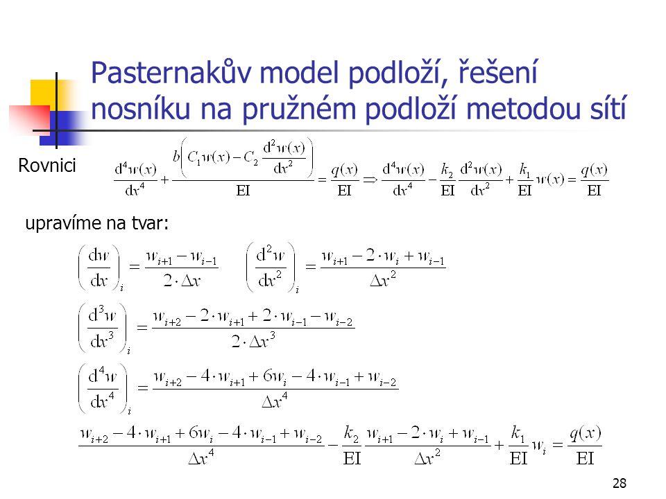 Pasternakův model podloží, řešení nosníku na pružném podloží metodou sítí