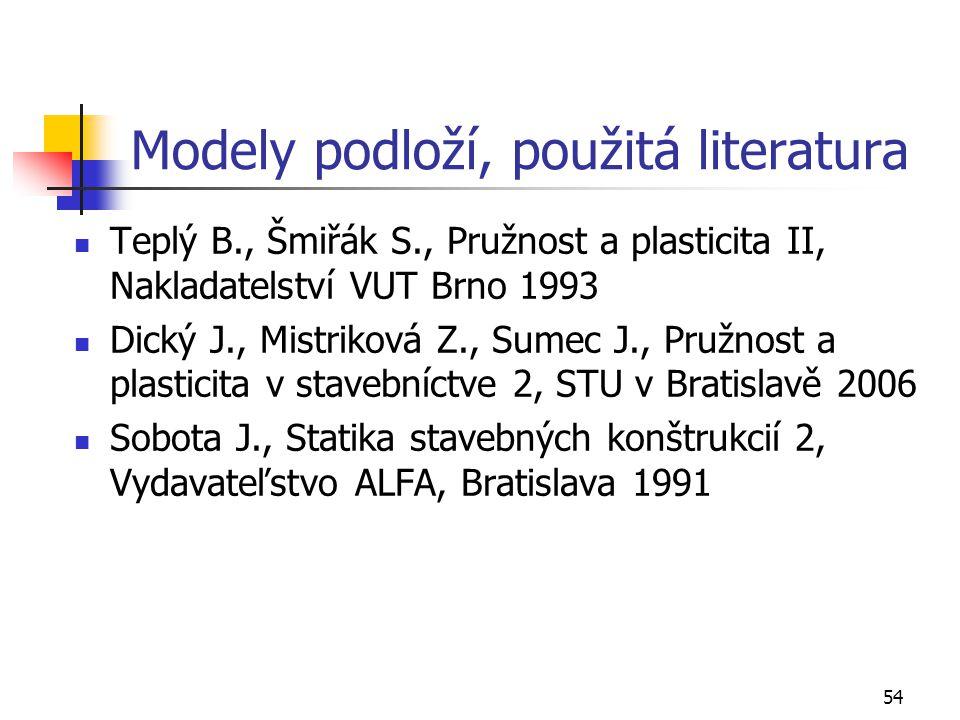 Modely podloží, použitá literatura