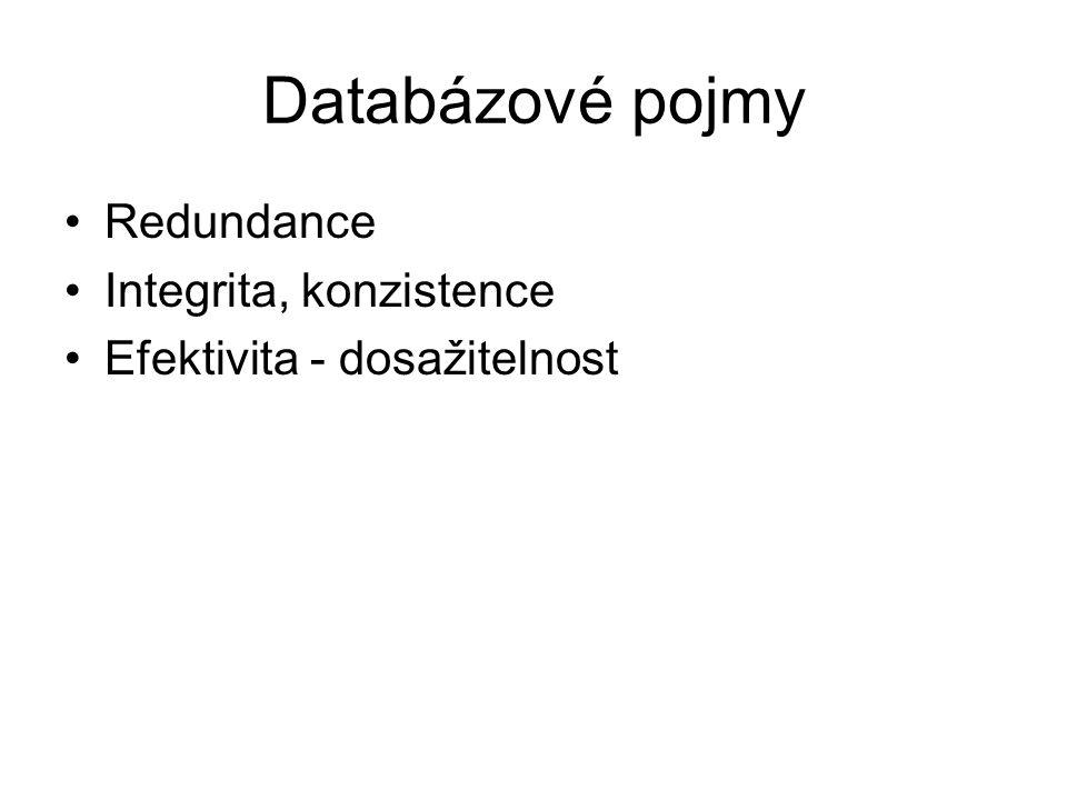 Databázové pojmy Redundance Integrita, konzistence