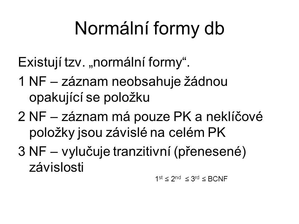 """Normální formy db Existují tzv. """"normální formy ."""