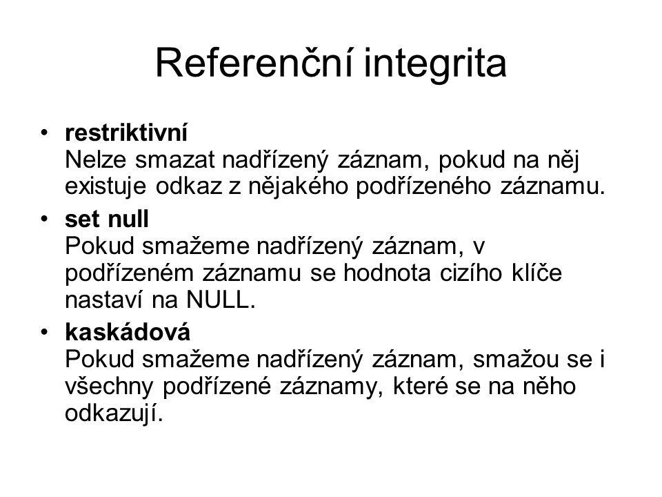 Referenční integrita restriktivní Nelze smazat nadřízený záznam, pokud na něj existuje odkaz z nějakého podřízeného záznamu.
