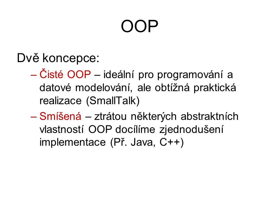 OOP Dvě koncepce: Čisté OOP – ideální pro programování a datové modelování, ale obtížná praktická realizace (SmallTalk)