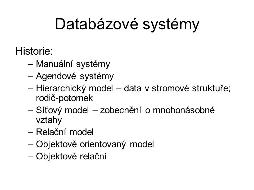 Databázové systémy Historie: Manuální systémy Agendové systémy