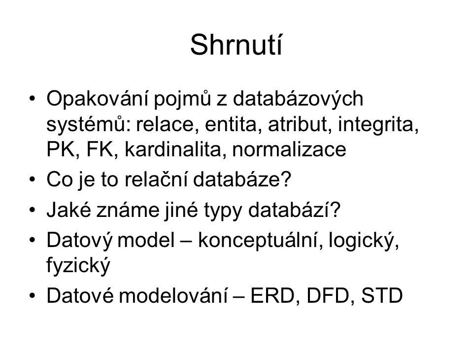 Shrnutí Opakování pojmů z databázových systémů: relace, entita, atribut, integrita, PK, FK, kardinalita, normalizace.