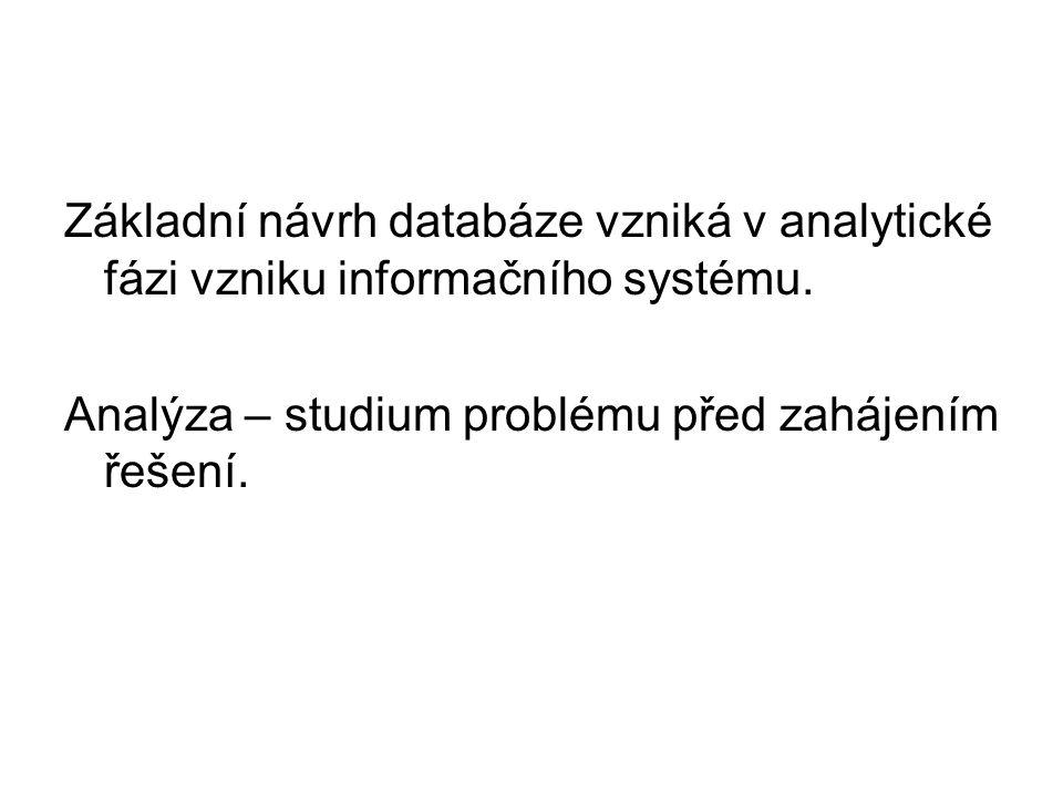 Základní návrh databáze vzniká v analytické fázi vzniku informačního systému.