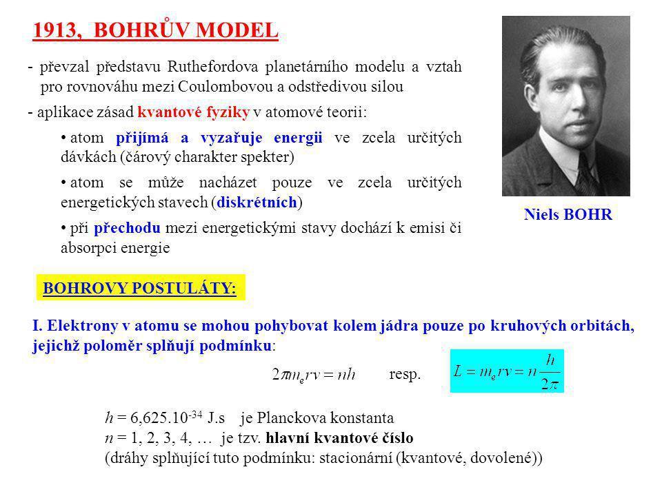 1913, BOHRŮV MODEL - převzal představu Ruthefordova planetárního modelu a vztah pro rovnováhu mezi Coulombovou a odstředivou silou.