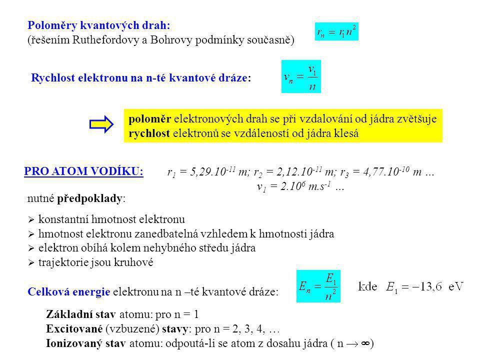 Poloměry kvantových drah: