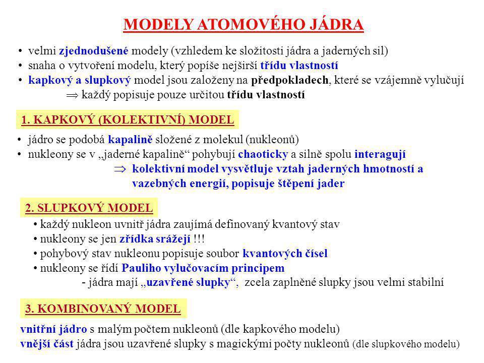 MODELY ATOMOVÉHO JÁDRA