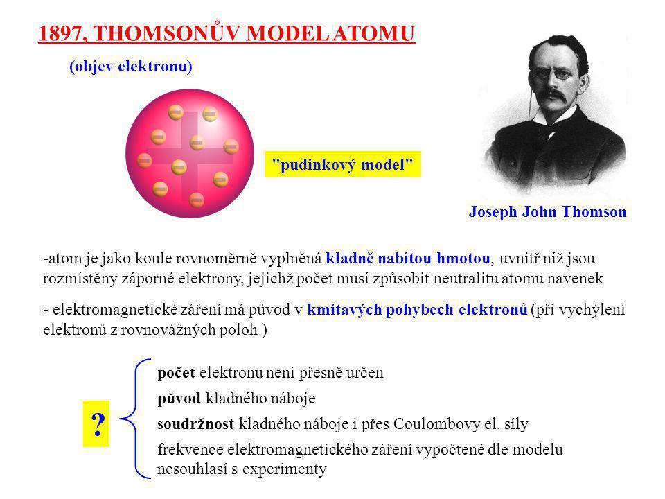 1897, THOMSONŮV MODEL ATOMU (objev elektronu) pudinkový model