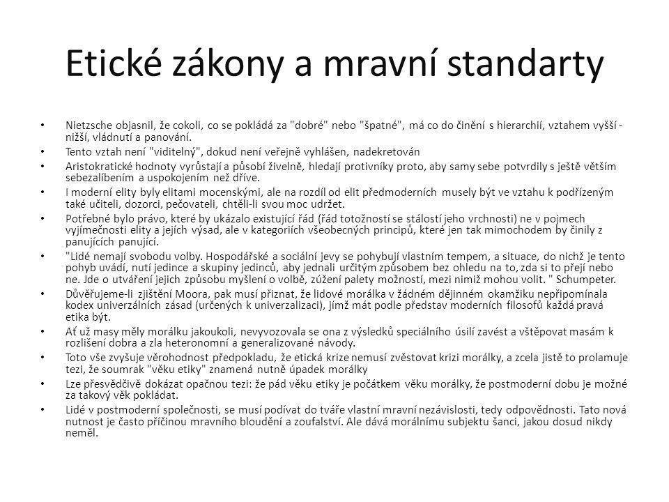 Etické zákony a mravní standarty