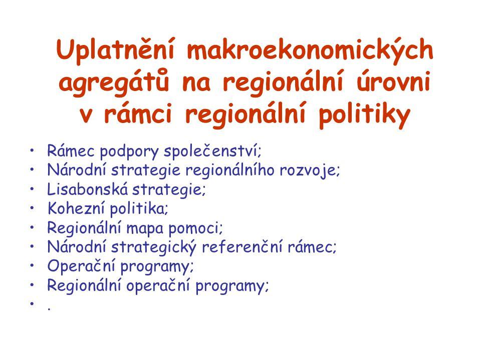 Uplatnění makroekonomických agregátů na regionální úrovni v rámci regionální politiky