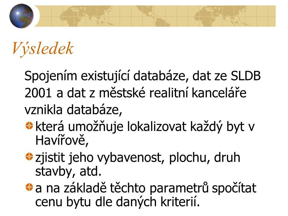 Výsledek Spojením existující databáze, dat ze SLDB