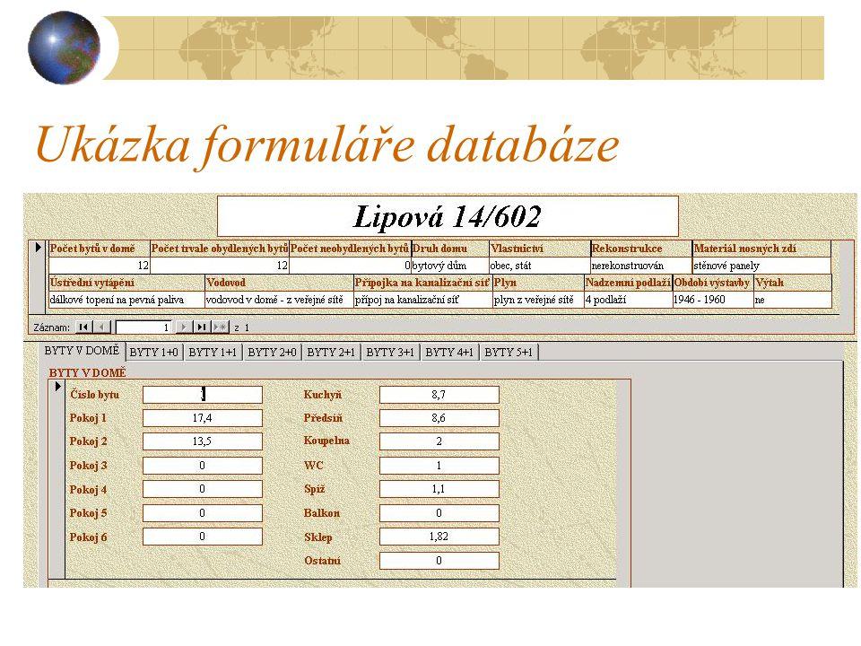Ukázka formuláře databáze