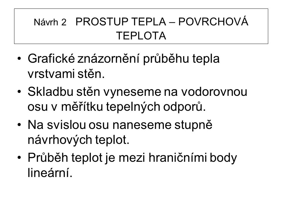 Návrh 2 PROSTUP TEPLA – POVRCHOVÁ TEPLOTA